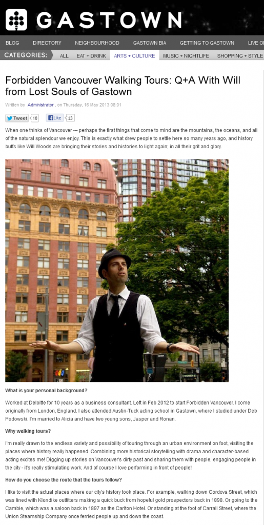 Gastown clipping -Lost Souls of Gastown article