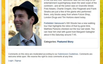 Will Woods CBC North by Northwest Granville Street Reveal Walking Tour - media coverage
