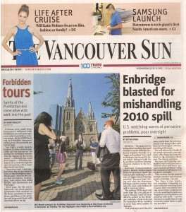 Forbidden Vancouver featured on front page of Vancouver Sun