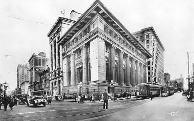 The Canadian Bank of Commerce building at Hastings and Granville streets in Vancouver in 1921.
