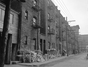 history prostitution Shanghai Alley tenements in the 1940s. Photo by Don Coltman, City of Vancouver Archives #586-4593