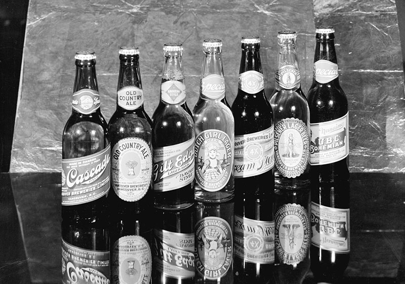 Bottles from Vancouver Breweries, ca. 1932. Photo by Stuart Thomson, City of Vancouver Archives #99-2637