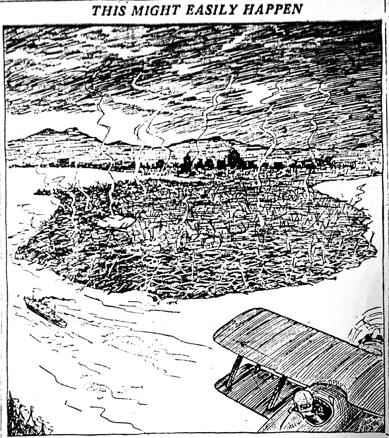 An artists depiction of was a fire could do to Stanley Park if all the debris left by the storm was left to dry out. Province, 11 February 1935