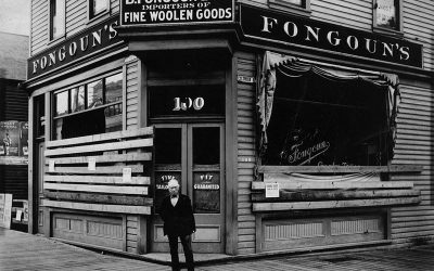 Fongoun's Tailor shop at 100 East Hastings Street showing damage from the 1907 anti-Asian riots.