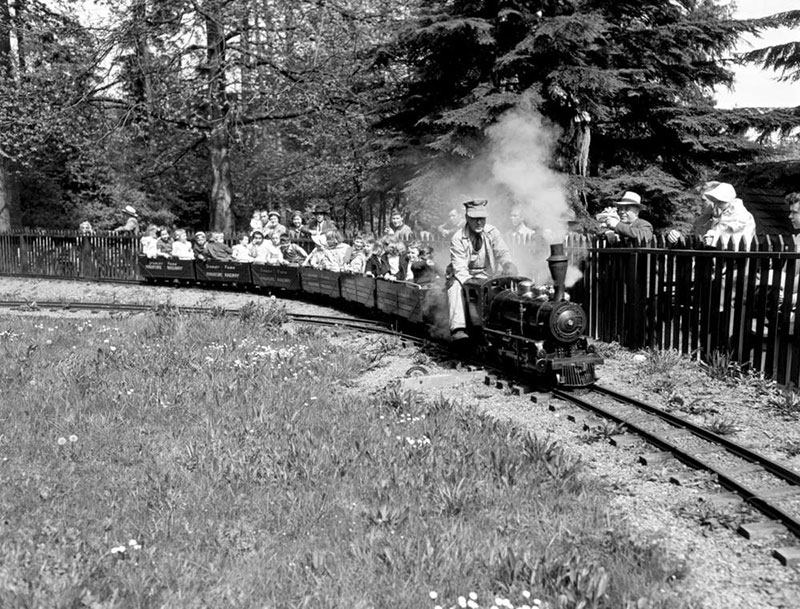 The miniature railway that was built in Stanley Park in the 1940s. The bigger one there today was built in a clearing left by Typhoon Freda. BC Archives #I-21688