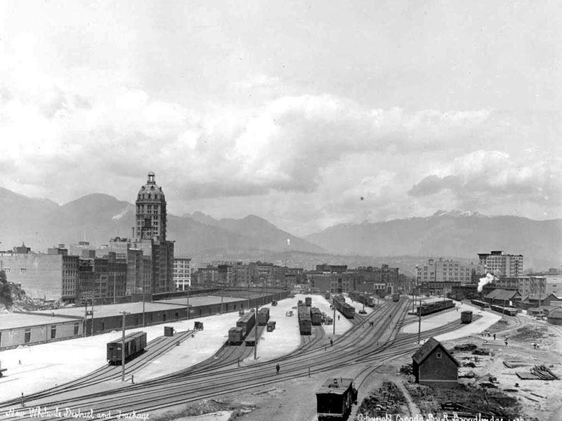 The World Building (now the Sun Tower), wholesale district, and railyards, 1915. Photo by Richard Broadbridge, BC Archives #B-00406
