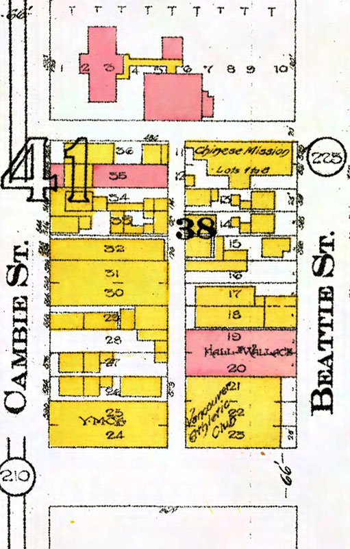 Beatty Lane was the alley between Beatty Street and Cambie. City of Vancouver Archives, taken from the city's Van Map online database.