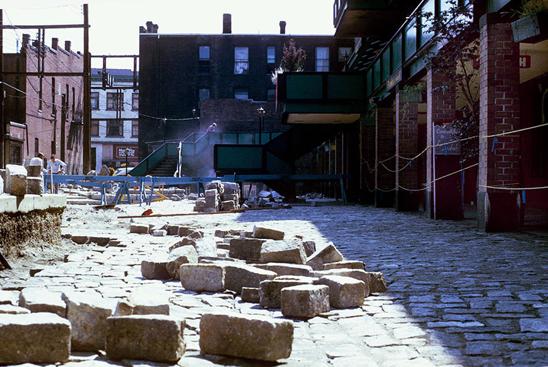 Blood Alley Square under construction, 1973. Photo by T Sebastian, City of Vancouver Archives #780-536