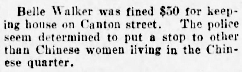 Article noting the intention of the police in Chinatown. The fear that the Chinese were luring white women into prostitution with drugs was common a hundred years ago. In reality, legitimate Chinese businesses and residents weren't happy with such activity in their backyard. Daily World, 14 May 1907.