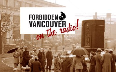 Forbidden Vancouver on the Radio title image. Photo of a radio sales promotion in Victory Square by Stuart Thomson, 1931. City of Vancouver Archives #99-4143