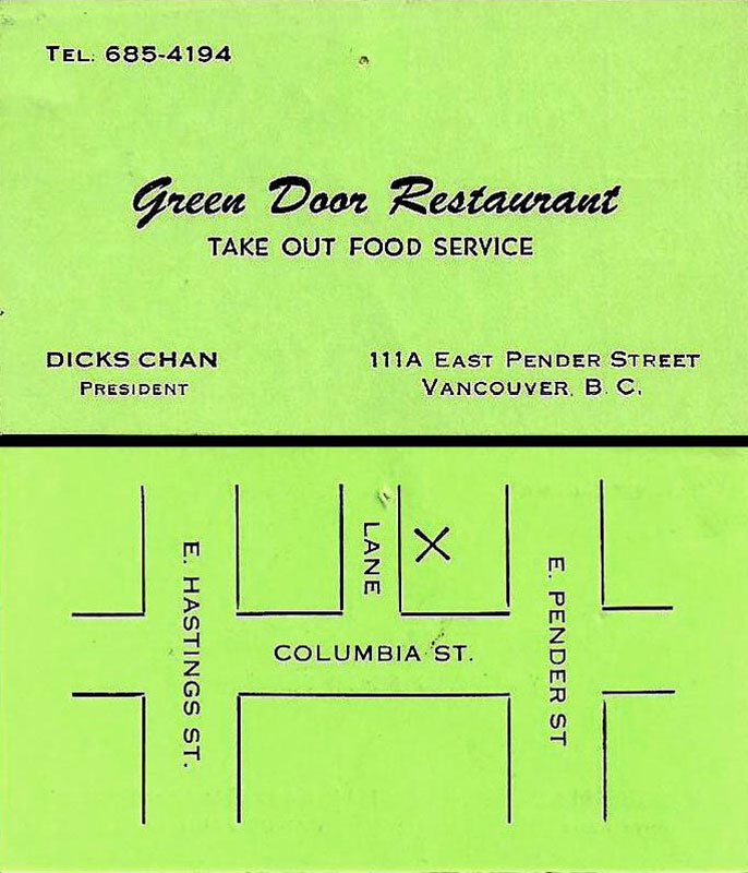Business card for the Green Door restaurant from 1977, with a map making it clear the entrance was in Market Alley. It closed in the 1990s. By then, commercial activity except street drug dealing had all but ceased in Market Alley. Image from BCHistoryCollectibles.Blogspot.ca