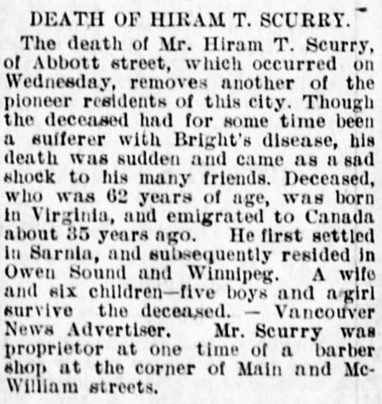 Hiram Scurry's obituary, Winnipeg Tribune, 29 October 1895.