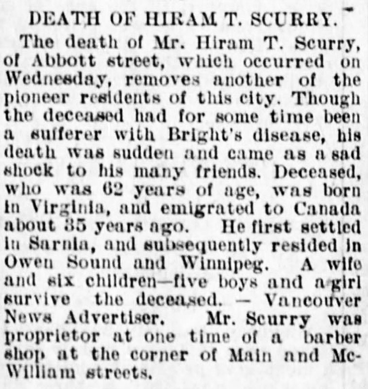 Hiram Scurry's obituary, Winnipeg Tribune, 29 October 1895.