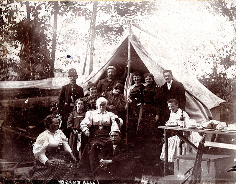The name Hogan's Alley comes from an extremely popular newspaper comic strip from 1890s New York. In Vancouver, it inspired the nickname for this summer campsite at English Bay as well as the alley between Union and Prior Streets, where a black community formed. City of Vancouver Archives # Be P70.1.