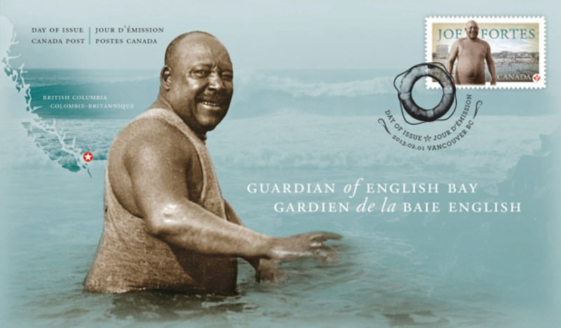 """Before he moved into his idyllic little cabin on English Bay, legendary lifeguard Joe Fortes lived with his """"Vancouver family,"""" the Scurry's, at 524 Cambie Street, which backed on to Beatty Lane. This 2013 stamp is one of many commemorations acknowledging his contribution to early Vancouver."""