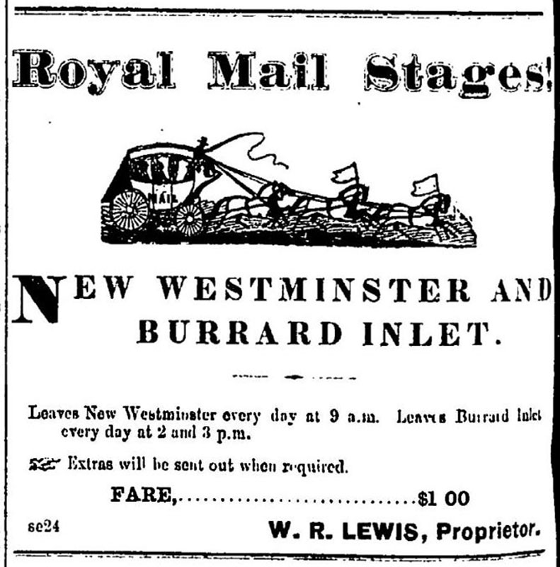 Ad for WR Lewis's Royal Mail Stagecoach from New Westminster to Burrard Inlet, Mainland Guardian, 15 January 1874.