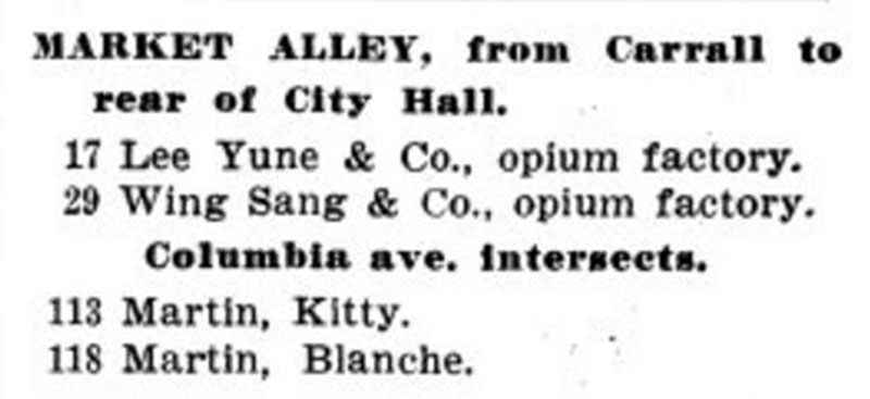 Market Alley directory listing from 1905. Opium hadn't been outlawed yet, and Dupont Street, and by extension, Market Alley, were still Vancouver's red light district. Wing Sang was owned by Yip Sang.