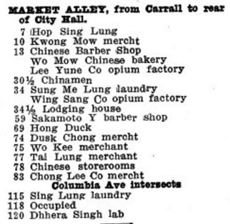 Directory listing for Market Alley in 1910. Note there are now no white women listed here, as the red light district was moved on. Opium had been outlawed in 1908, but opium factories were given until the beginning of 1909 to sell their remaining stock abroad, though the directory listing hadn't been updated to reflect this.