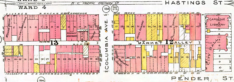 Market Alley from Goad's fire insurance map, 1912. City of Vancouver Archives, taken from the city's Van Map online database.