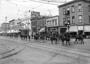 Police parade on the 700 block of Main Street, eastside, 1918. Photo by Stuart Thomson, City of Vancouver Archives #99-1269