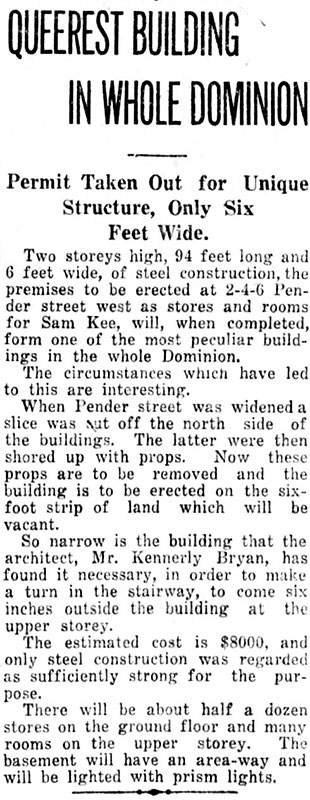 News article about the Sam Kee Co. building the skinniest building in the world. Daily World, 27 March 1913.