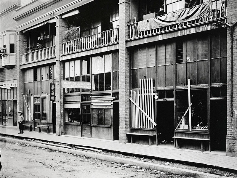 Shanghai Alley boarded up after the 1907 Asiatic Exclusion League Riot. 20.Shanghai Alley after the riot, 1907, by Philip Timms, UBC Chung Collection #CC-PH-08451.