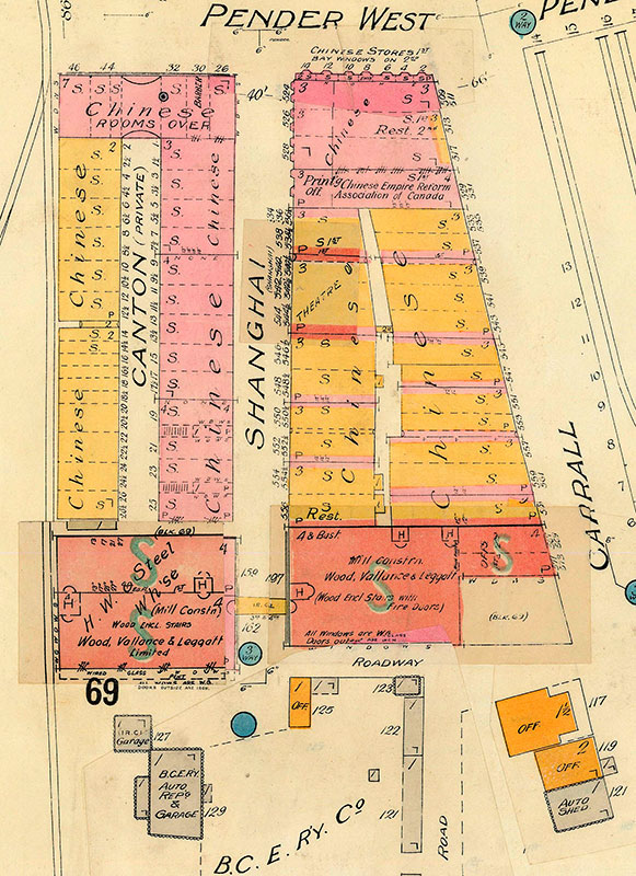 Canton and Shanghai allies, Goad's fire insurance map, 1913. City of Vancouver Archives #1972-582.08