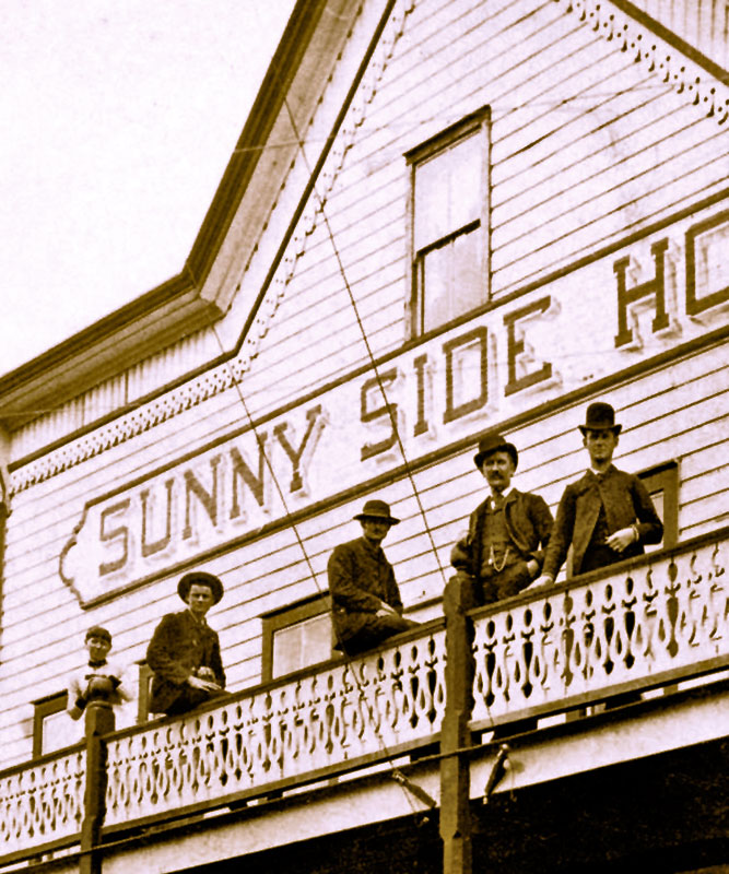 Sunny Side Hotel at 1 Water Street, June 1888. Photo by RH Gardiner (cropped), City of Vancouver Archives #Bu P371