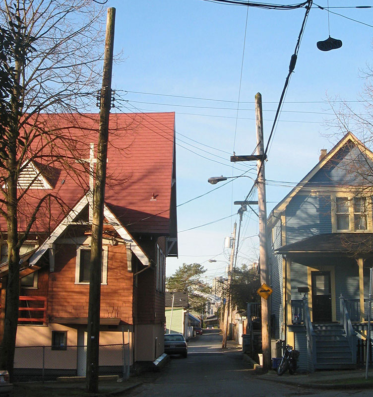 The remaining portion of Hogan's Alley, looking west from Jackson Avenue in 2008. The Fountain Chapel on the left was the only black church in Vancouver, and a key institution for the city's black community.