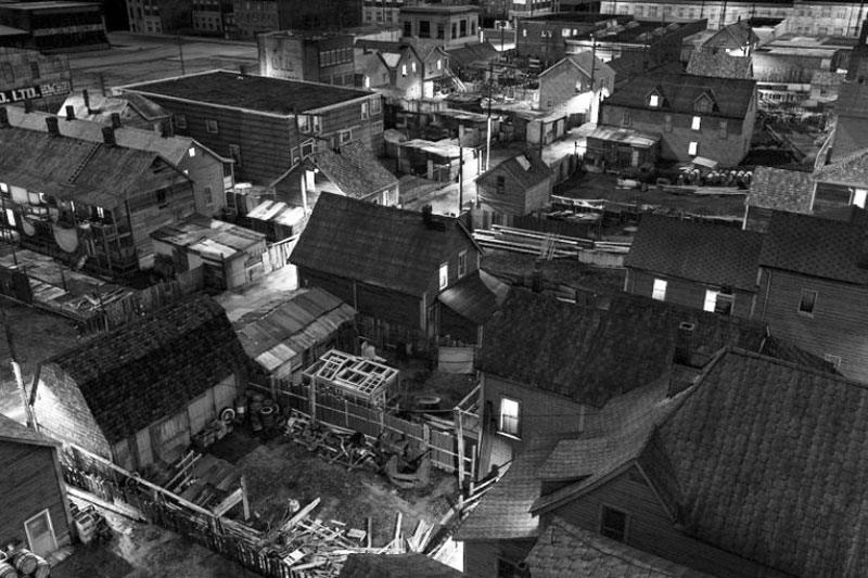"""A digitally recreated aerial view of Hogan's Alley in the 1940s by artist Stan Douglas. Image from his 2014 """"Synthetic Pictures"""" exhibition at Presentation House Gallery."""
