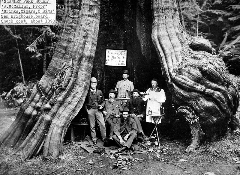 """""""Stanley Park Hotel,"""" a gag photo taken at the Hollow Tree, ca. 1890. City of Vancouver Archives #St Pk P34"""