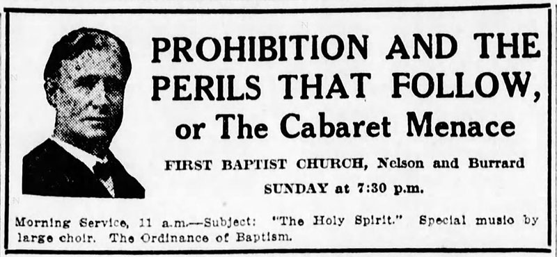 Advertisement warning of the possible perils of prohibition from the Daily World, 29 September 1917.