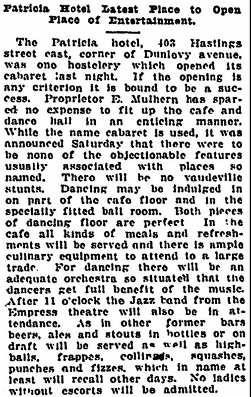 The owners of the Patricia Hotel went out of their way to convince people their new cabaret was a wholesome operation. Vancouver Sun, 7 October 1917.