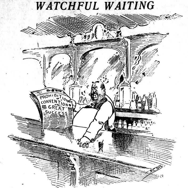 """""""Watchful Waiting,"""" editorial cartoon from the Daily World, 27 August 1915."""