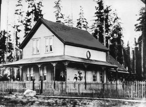 Angus Fraser's house on Carrall between Cordova Street and Trounce Alley, 1877. City of Vancouver Archives #Bu P28