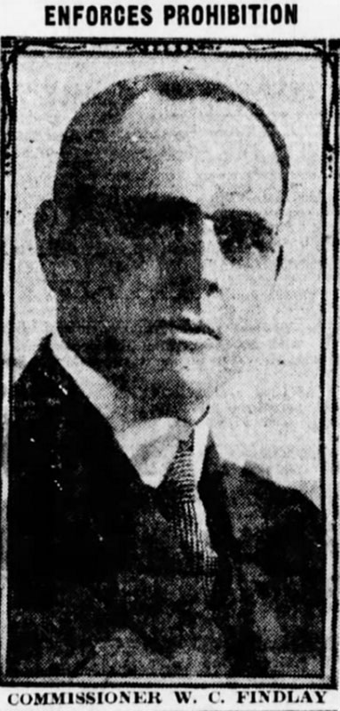 Prohibition Commissioner Walter C Findlay. Daily World 30 August 1918.