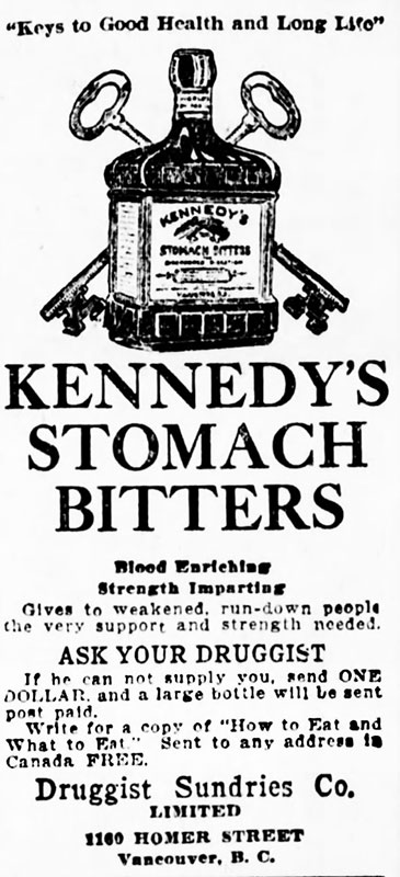 """One way around the prohibition law was over-the-counter """"medicine"""" containing alcohol. This stuff was about 16%. Daily World, 8 December 1917."""
