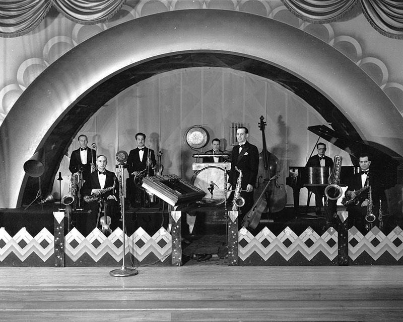 The Commodore Orchestra, 1933, in the Commodore Ballroom, which was built with rum running money by George Riefel. Photo by Stuart Thomson, City of Vancouver Archives #99-4293