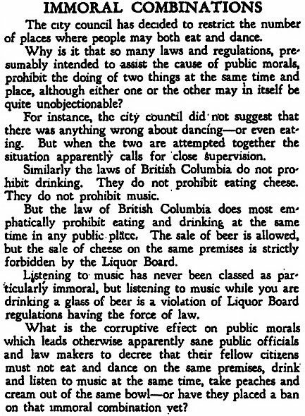 """""""Immoral Combinations,"""" Vancouver Sun, 4 September 1931."""