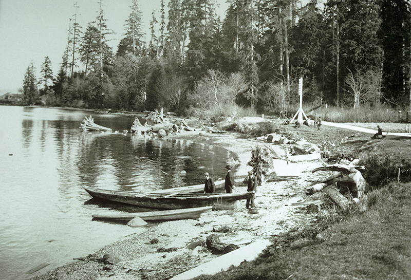 The beach of the old Whoi Whoi site, today's Lumberman's Arch area, in 1910. The area was cleared for Captain Stamp's mill in the 19th century, but he decided to move his sawmill east. The resulting Hastings Mill was the beginning of the settlement that became Vancouver. Photo City of Vancouver Archives #2011-010.1790.