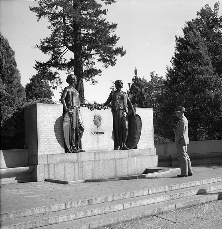 Charles Marega's Harding Memorial in Stanley Park. Photo by James Crookall (cropped), City of Vancouver Archives # 260-2179.