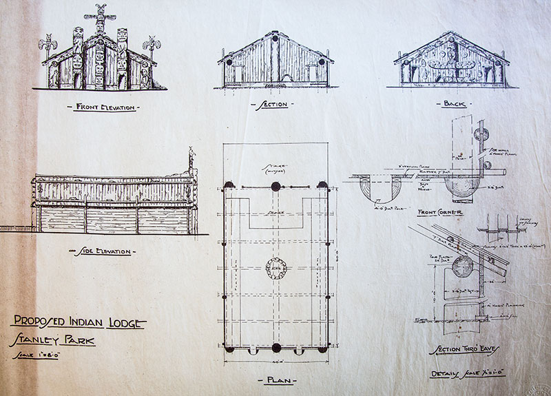 Indian village architectural drawing prepared for the Art, Historical, and Scientific Association by Henry EC Carry, 1923. City of Vancouver Archives #VPK S98, map cabinet 271, drawer 4, folder 13.