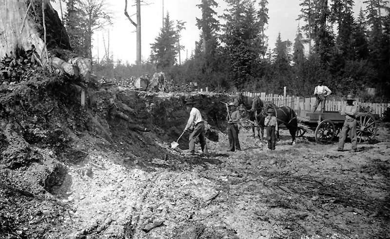Digging up the midden at Whoi Whoi to build Park Road. Photo by Charles S Bailey, City of Vancouver Archives #SGN 91.