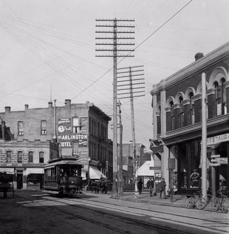 Cordova Street looking west at Cambie Street, ca. 1900. Online Archive of California, UCR/California Museum of Photography #1996.0009.X4834.
