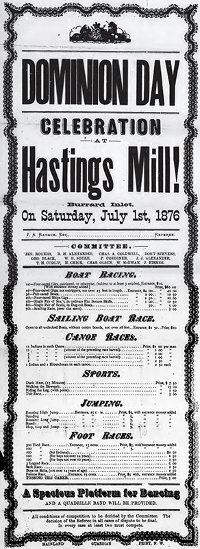 Dominion Day celebration at Hastings Mill, 1876. Poster published by the Mainland Guardian, via the Internet Archive.