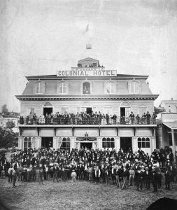 Dominion Day celebration in New Westminster, 1878. Photo by French, City of Vancouver Archives #677-452.