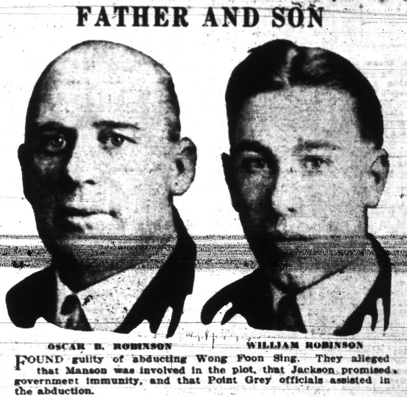 The Robinson kidnappers, Vancouver Sun, 7 November 1925.