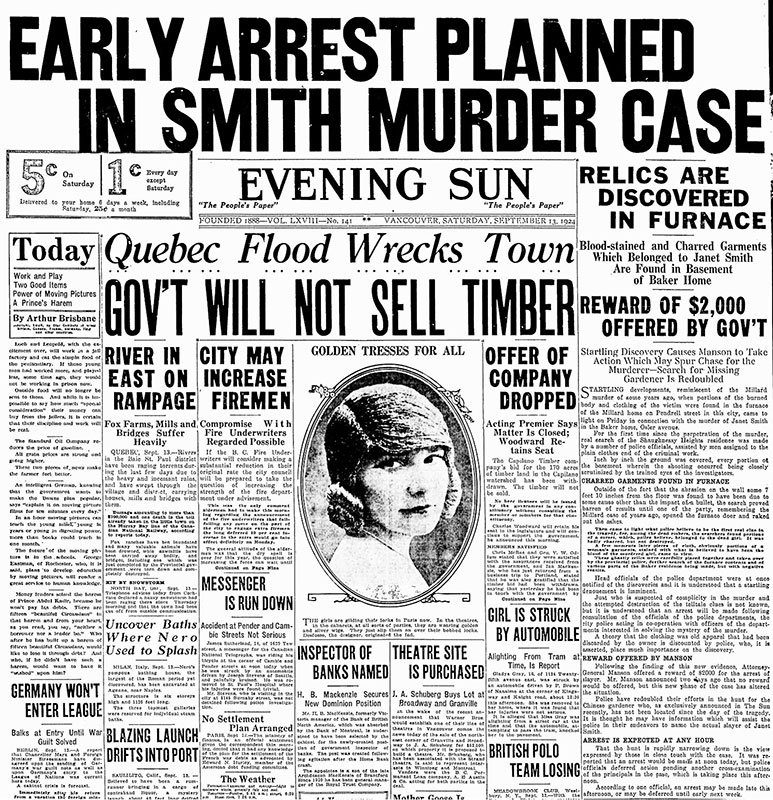 The Janet Smith murder mystery sold a lot of newspapers in the 1920s. Vancouver Sun, 13 September 1924.