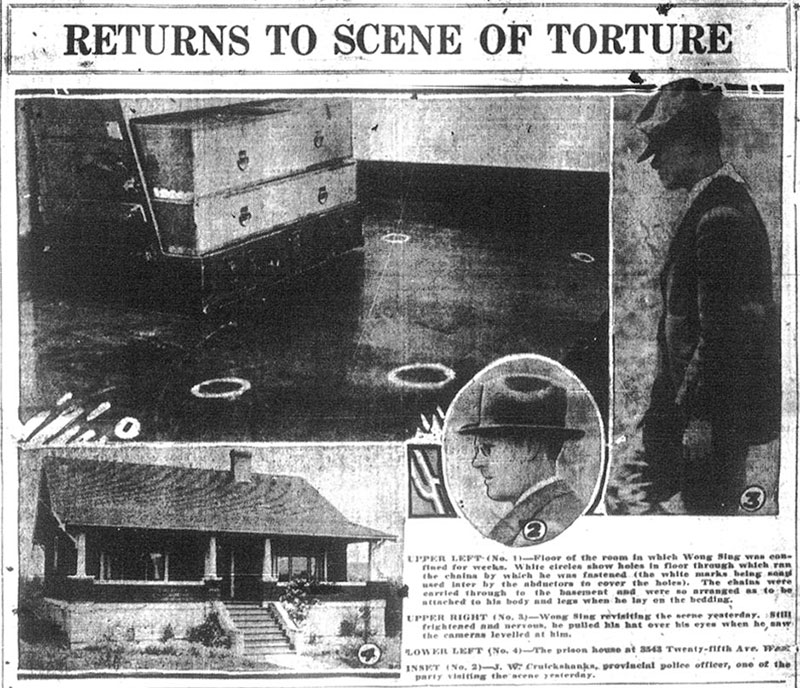 Wong Foon Sing (right) returning to the house where he was tortured. The white circles indicate holes where the chains that confined him went through to the basement. Inset is Inspector Forbes Cruikshank of the BC Provincial Police.