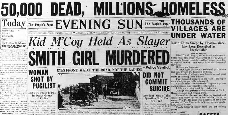 Evening Sun headline declaring Janet Smith death was the result of foul play, 13 August 1924.